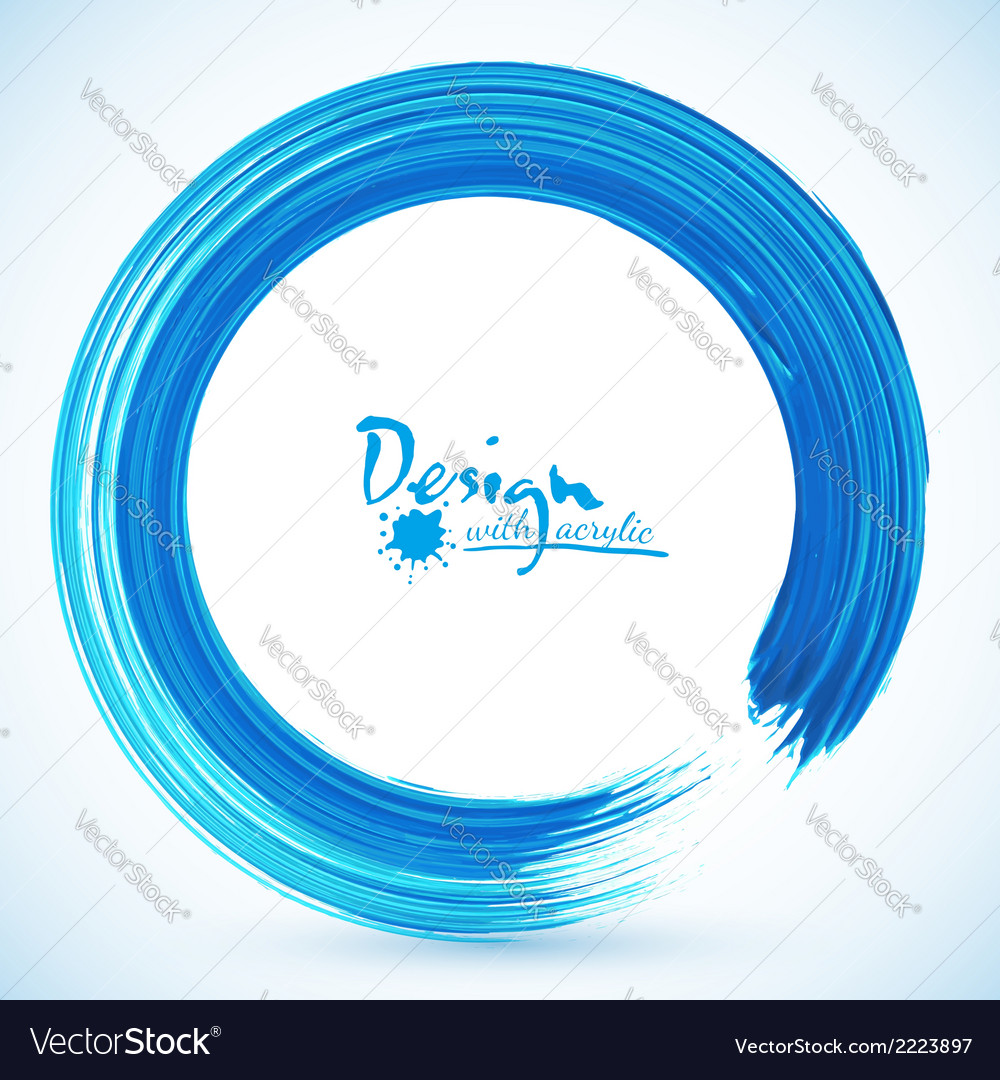 Blue paintbrush circle frame vector | Price: 1 Credit (USD $1)