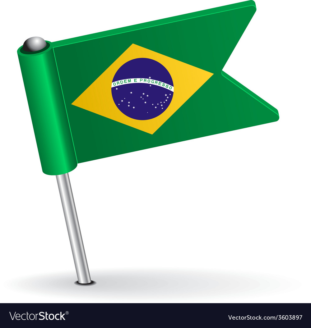 Brazilian pin icon flag vector | Price: 1 Credit (USD $1)