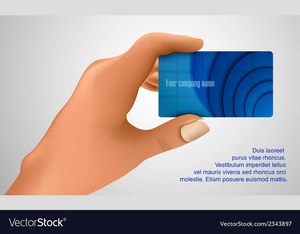 Business card in hand vector | Price: 1 Credit (USD $1)