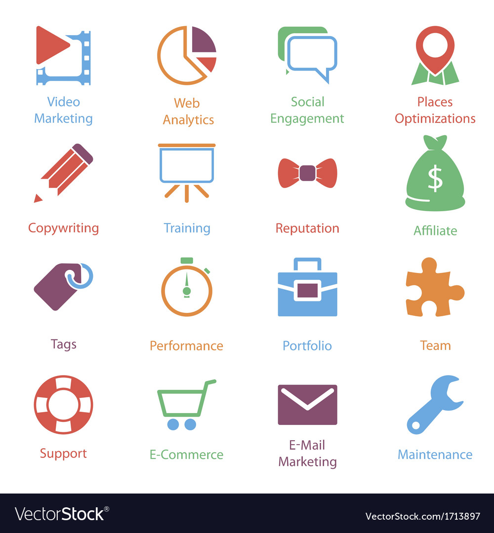 Color internet marketing icons vol 2 vector | Price: 1 Credit (USD $1)