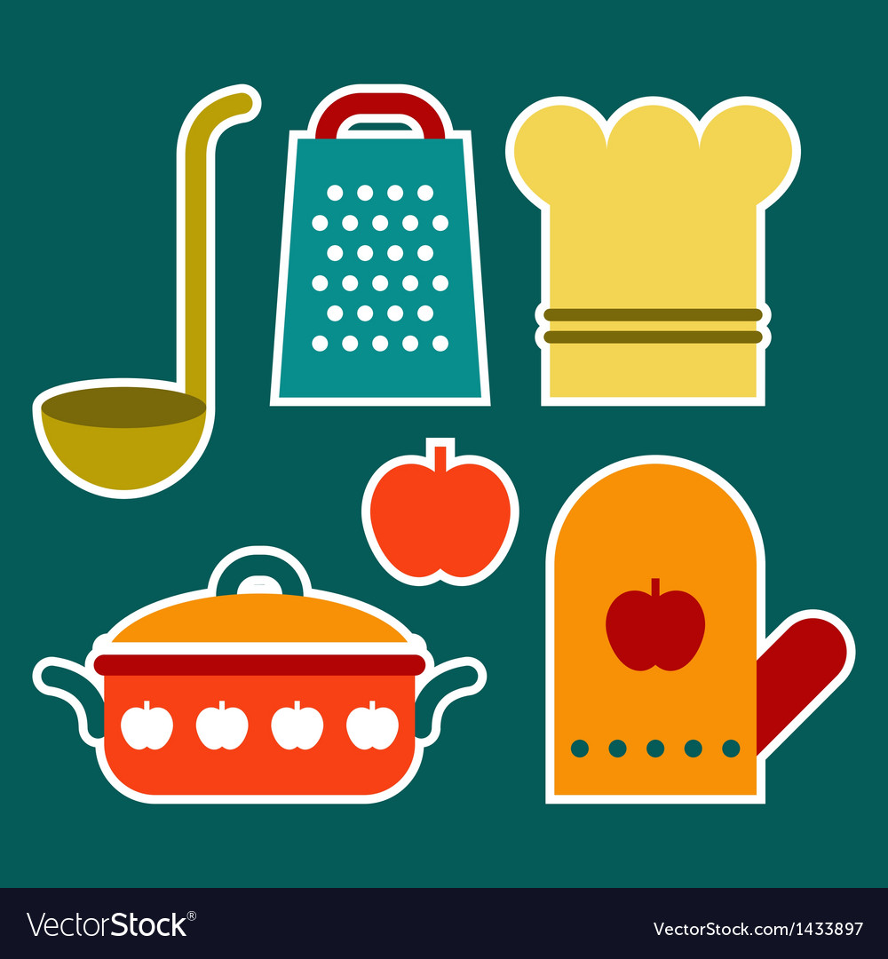 Colorful kitchen symbols vector | Price: 1 Credit (USD $1)