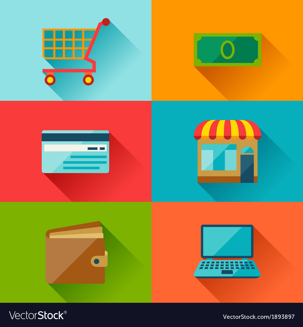 Internet shopping icons in flat design style vector | Price: 1 Credit (USD $1)