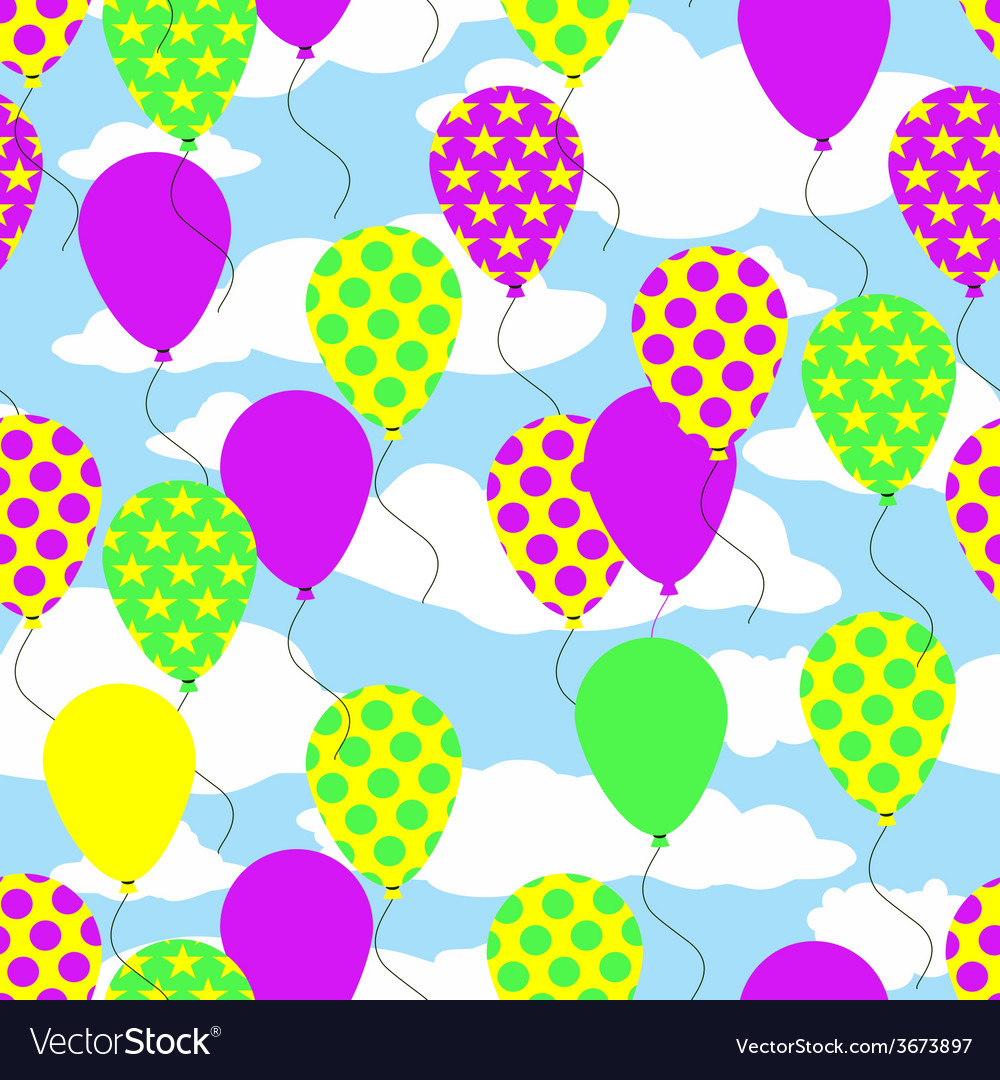 Seamless pattern with colorful balloons on sky vector | Price: 1 Credit (USD $1)