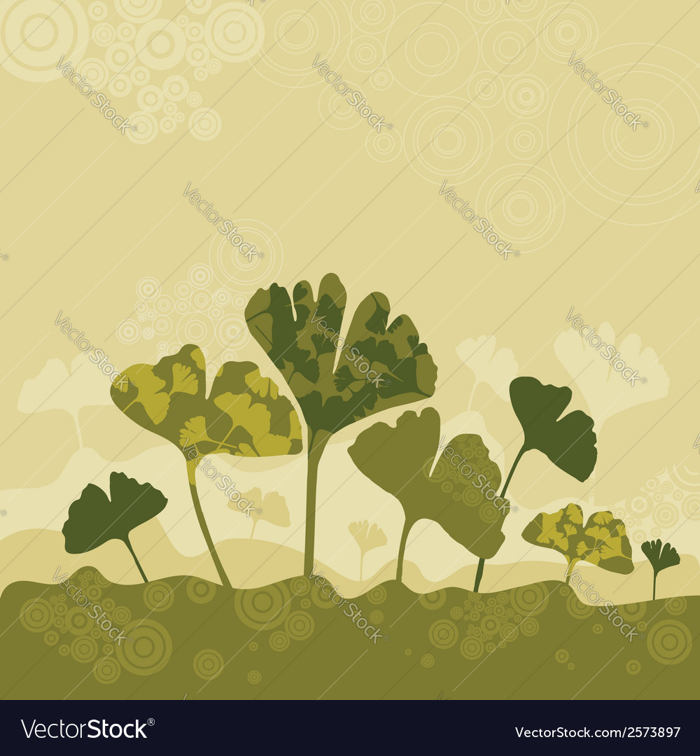 Silhouettes of ginko biloba vector | Price: 1 Credit (USD $1)