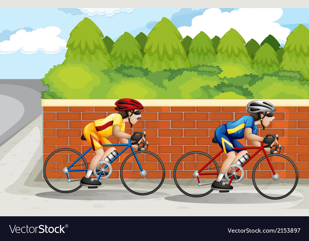 Two men biking vector | Price: 3 Credit (USD $3)
