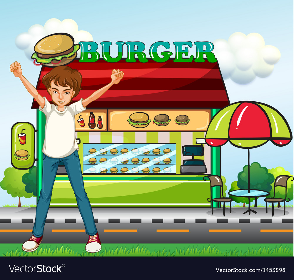 A man in front of the burger stand vector | Price: 1 Credit (USD $1)