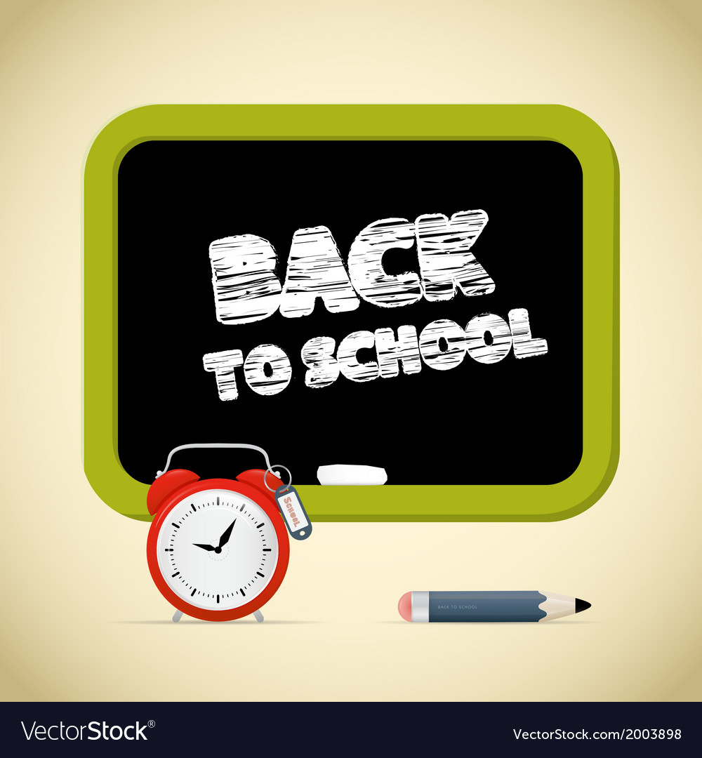 Back to school title with chalk - alarm clock vector | Price: 1 Credit (USD $1)
