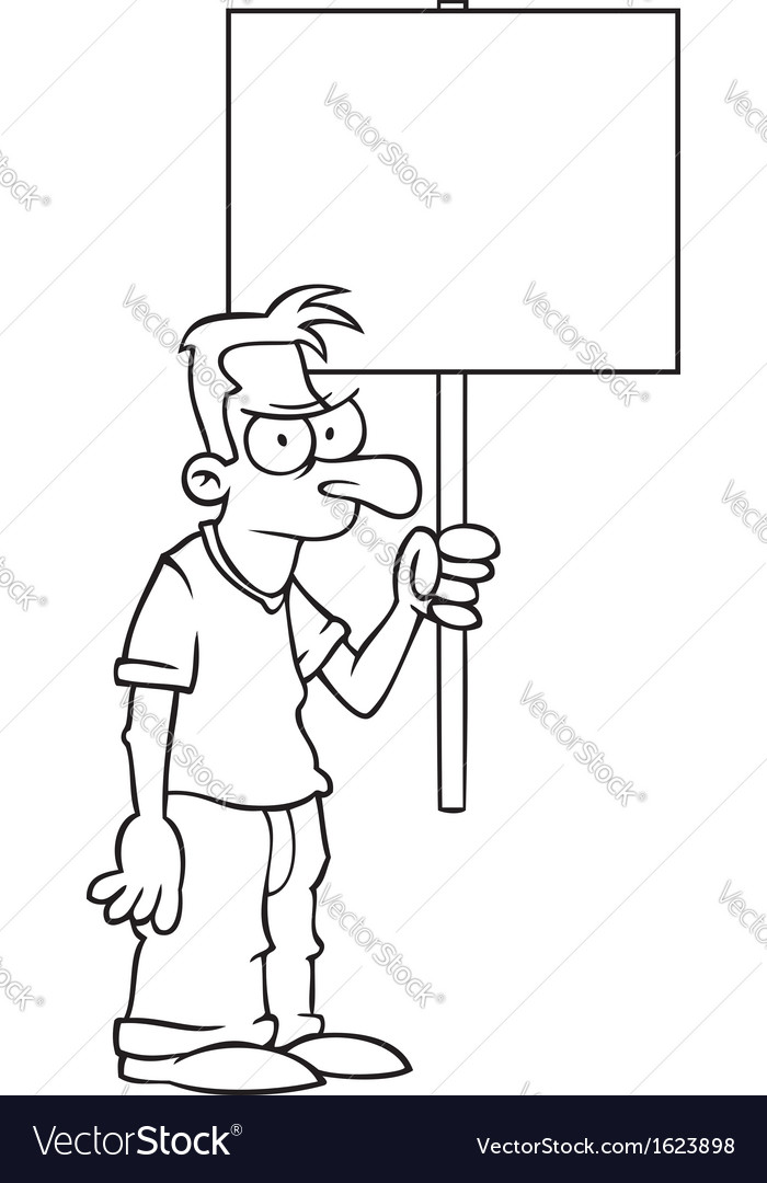Black and white angry man with protest sign vector | Price: 1 Credit (USD $1)