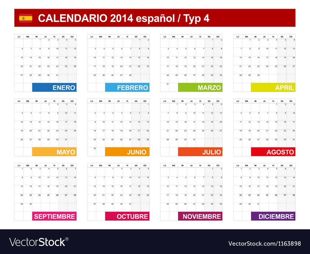 Calendar 2014 spain type 4 vector | Price: 1 Credit (USD $1)
