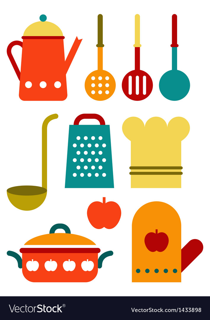 Colorful kitchen utensil set vector | Price: 1 Credit (USD $1)