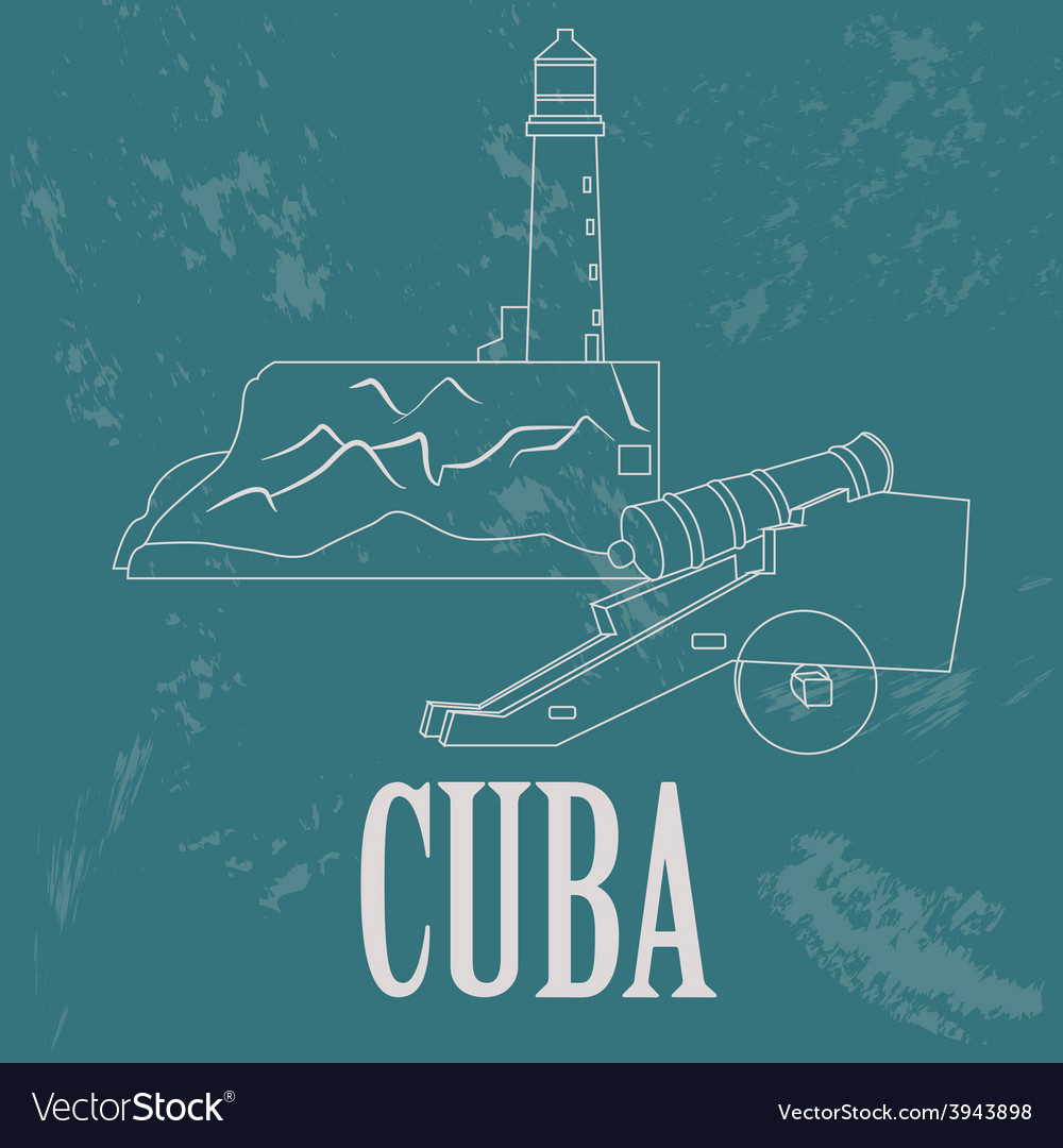 Cuba landmarks retro styled image vector | Price: 1 Credit (USD $1)