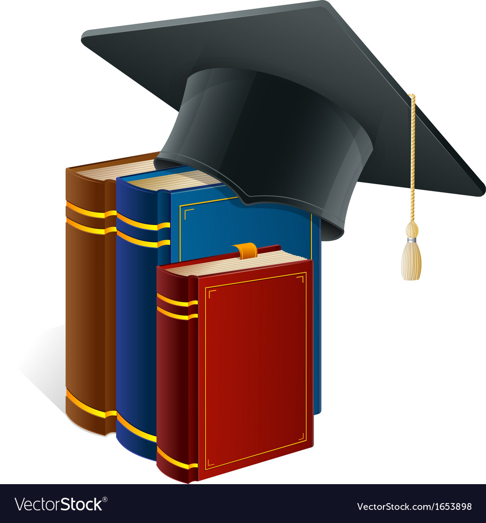 Graduation cap with books isolated on white vector | Price: 1 Credit (USD $1)