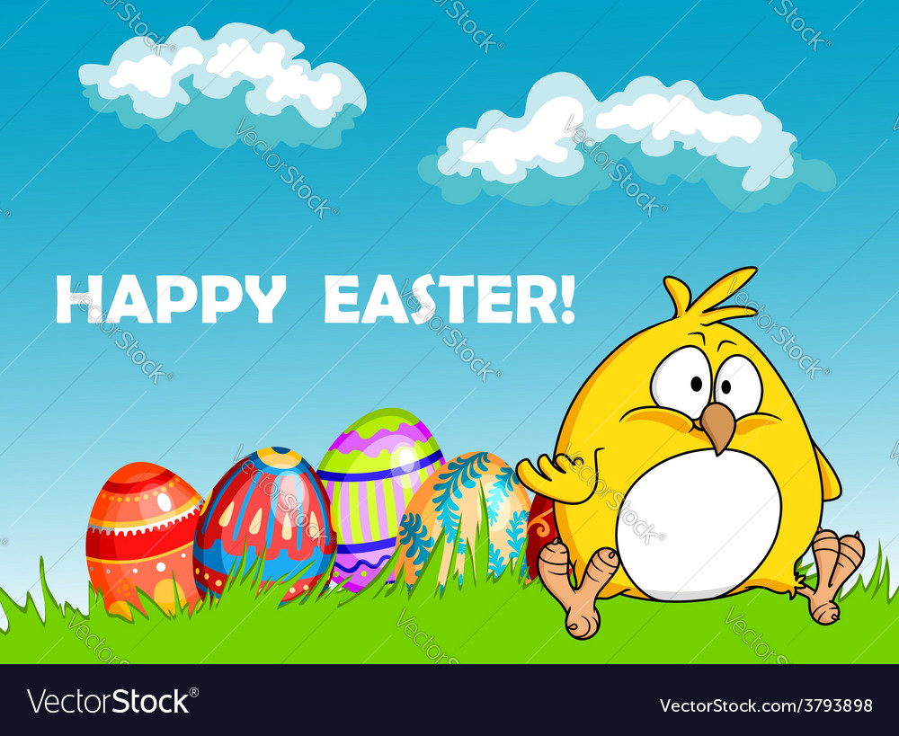 Happy easter greeting card with eggs and a chick vector | Price: 1 Credit (USD $1)
