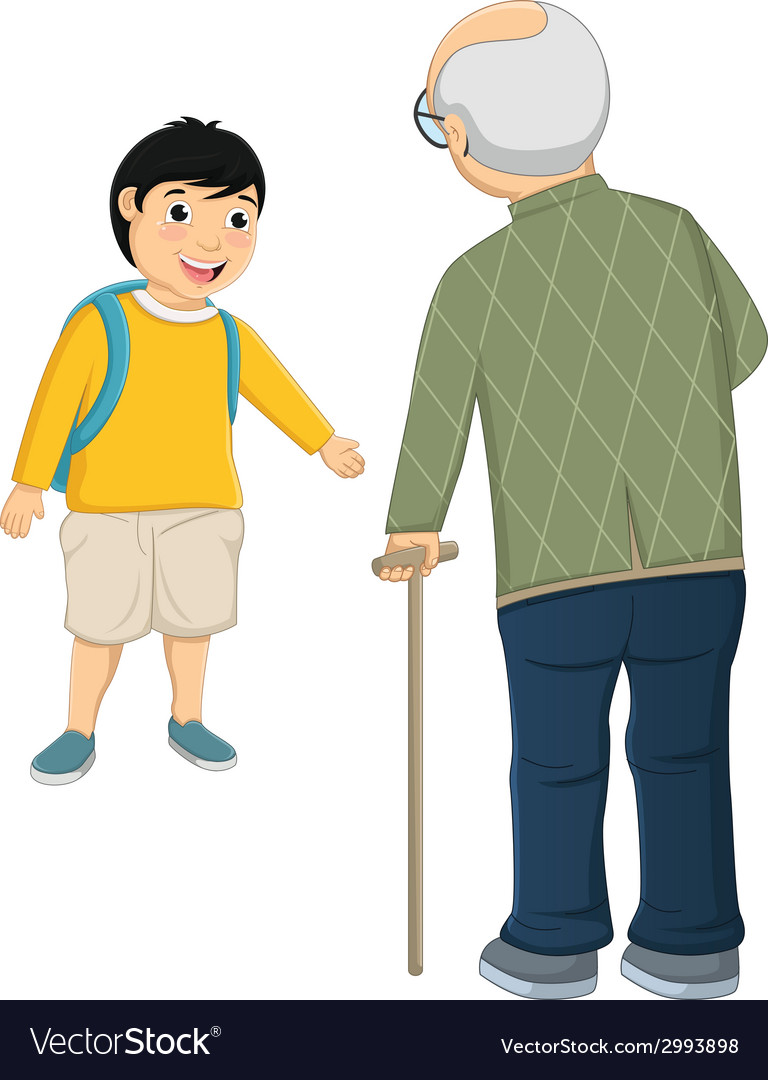 Kid and old man vector | Price: 1 Credit (USD $1)