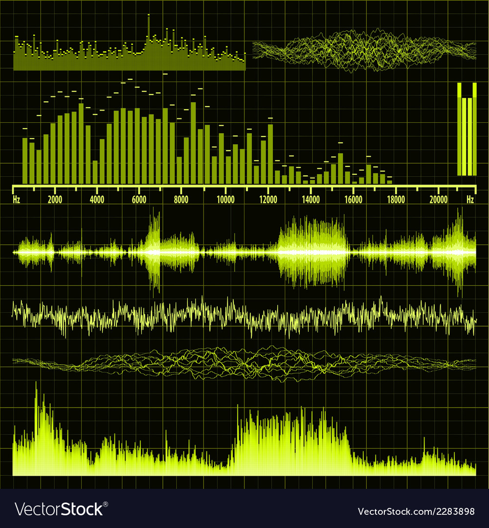 Sound waves set music background eps 8 vector | Price: 1 Credit (USD $1)