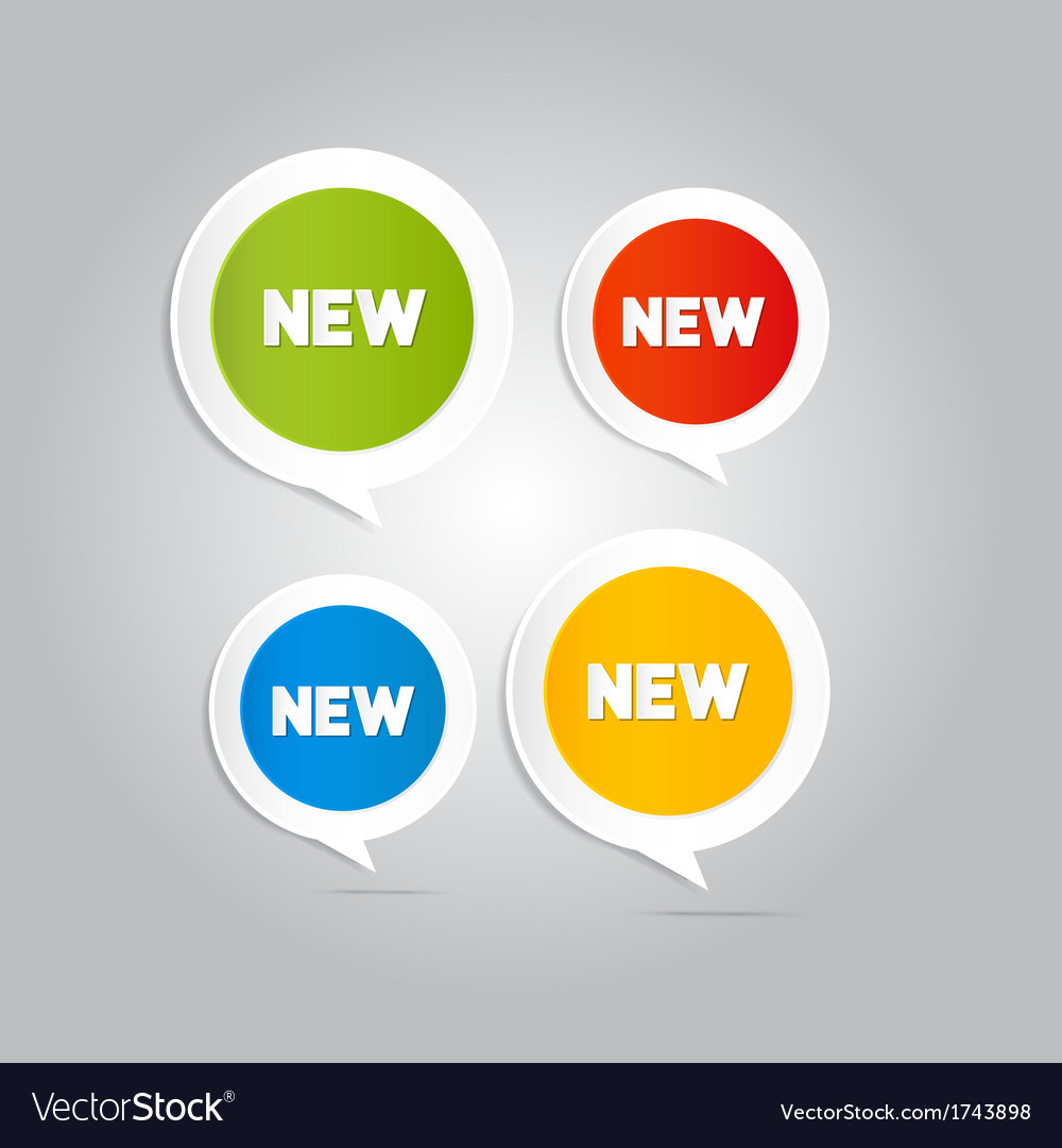 Stickers tags labels with new title vector | Price: 1 Credit (USD $1)