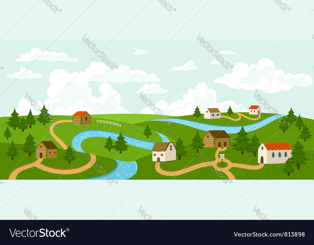 Summer village landscape vector | Price: 3 Credit (USD $3)