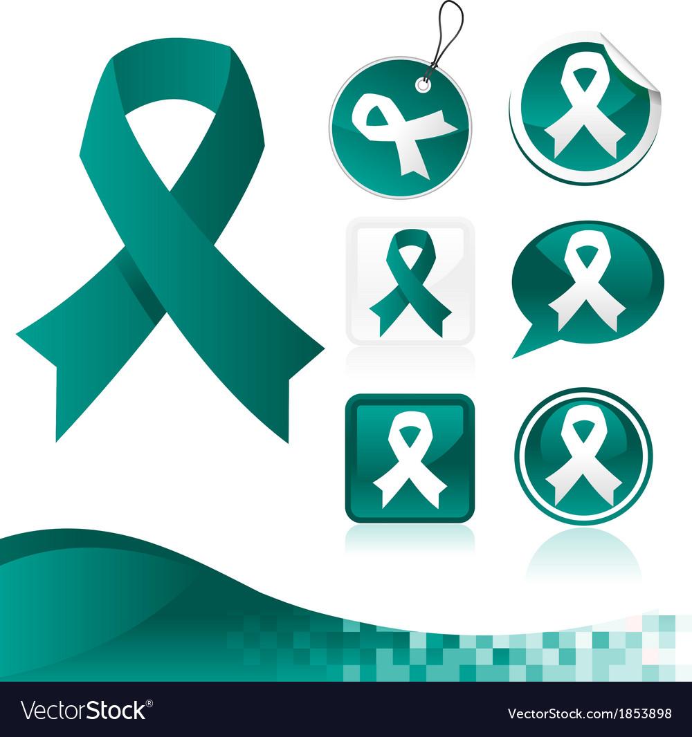 Teal awareness ribbons kit vector | Price: 1 Credit (USD $1)