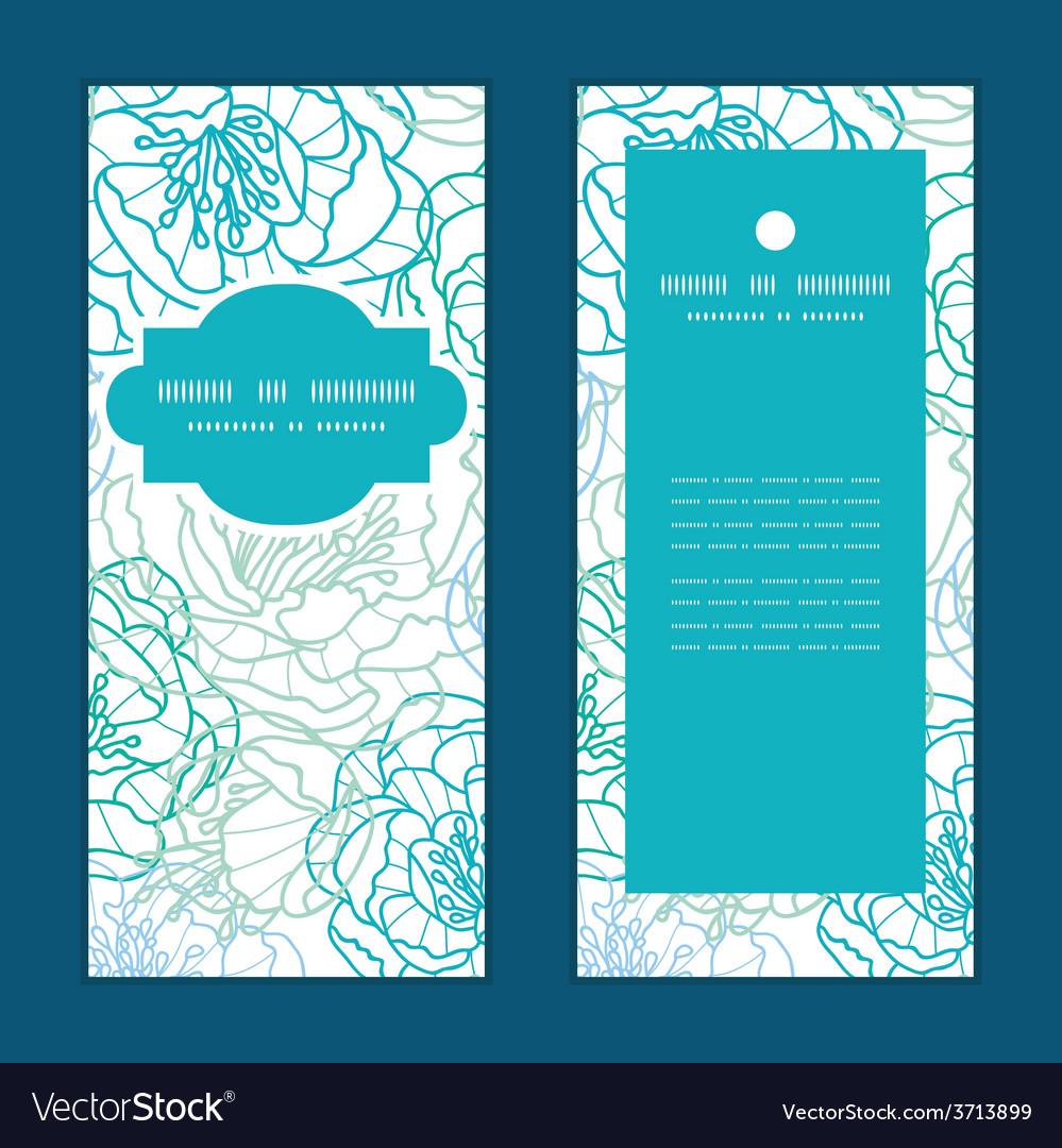 Blue line art flowers vertical frame vector | Price: 1 Credit (USD $1)
