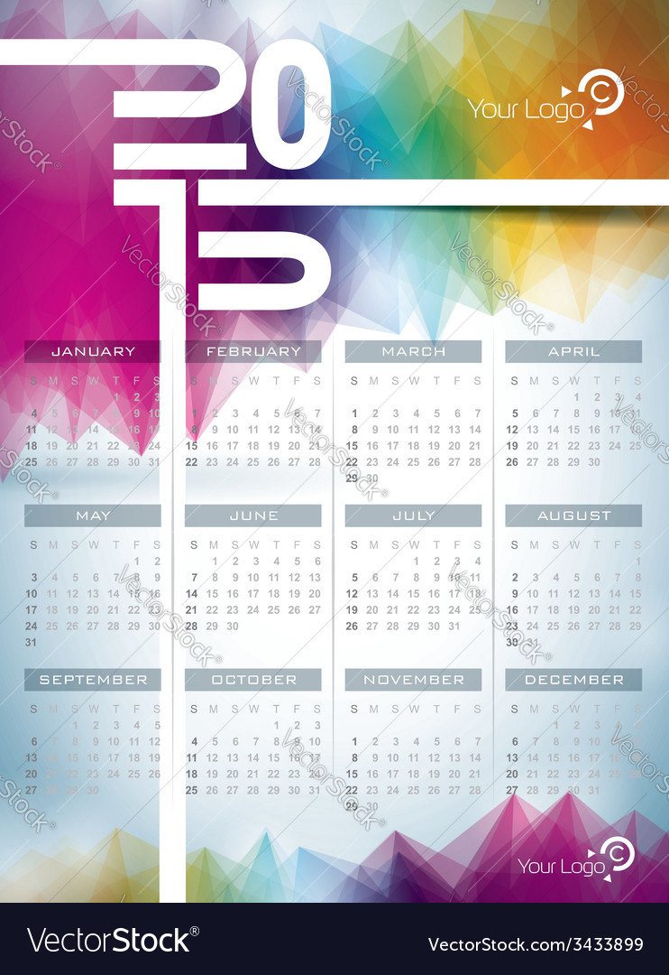 Calendar 2015 on abstract background vector