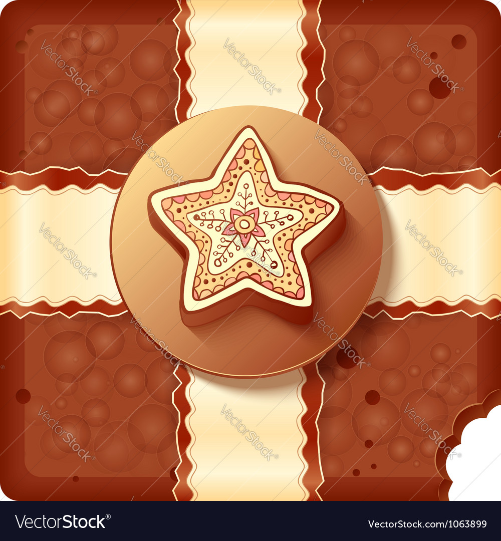 Christmas chocolate box with badge and ribbon vector | Price: 1 Credit (USD $1)