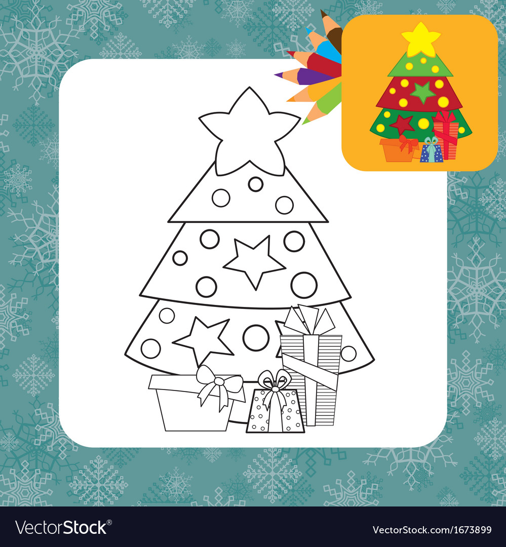 Christmas tree coloring page vector | Price: 1 Credit (USD $1)
