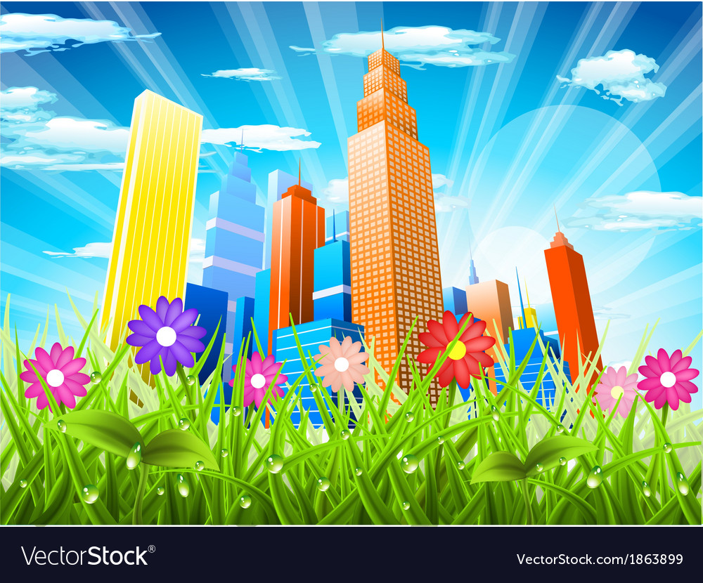 City and nature vector | Price: 1 Credit (USD $1)