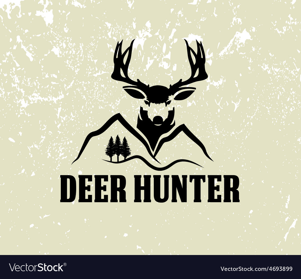 Deer head and mountains on grunge background vector | Price: 1 Credit (USD $1)