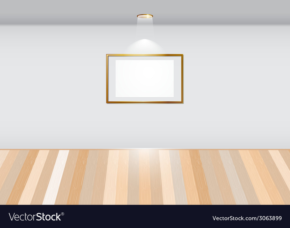 Empty room with blank frame on white wall vector | Price: 1 Credit (USD $1)