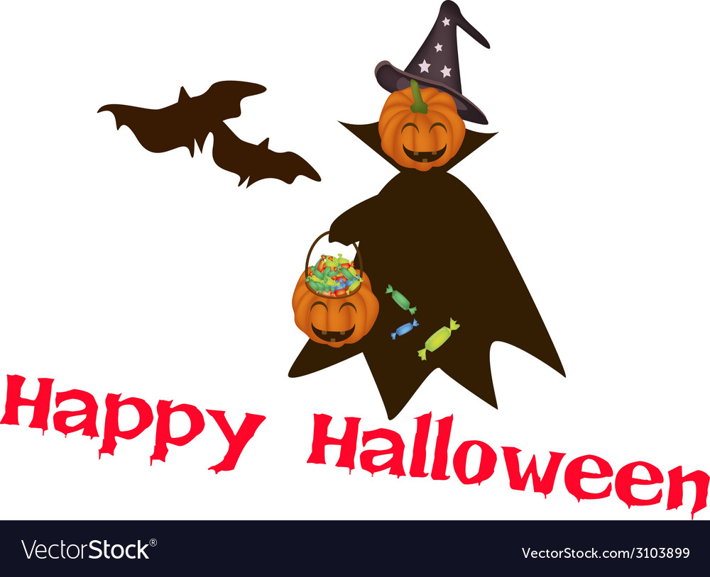 Halloween pumpkin with candy basket vector | Price: 1 Credit (USD $1)
