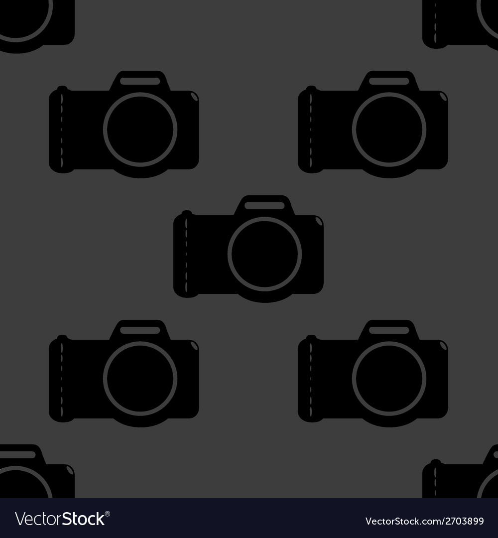 Photo camera web icon flat design seamless gray vector | Price: 1 Credit (USD $1)
