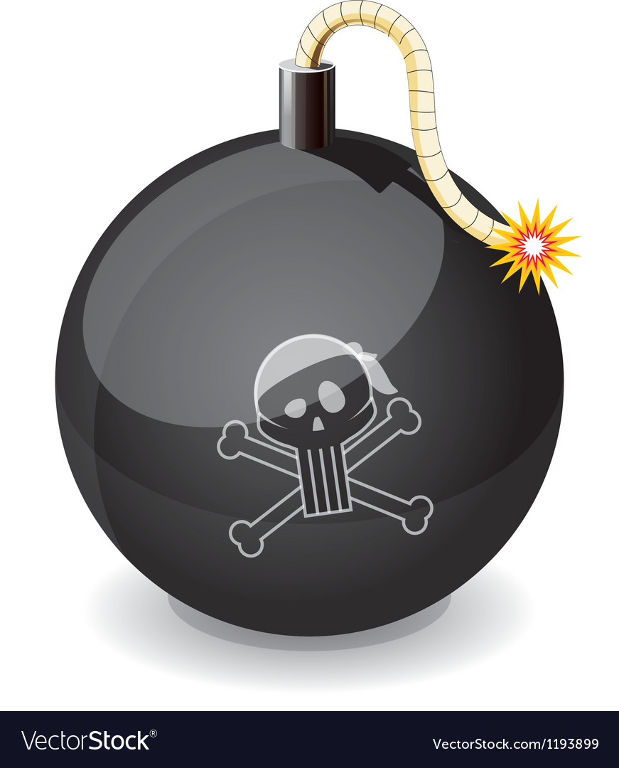 Pirate black glossiness bomb vector | Price: 1 Credit (USD $1)