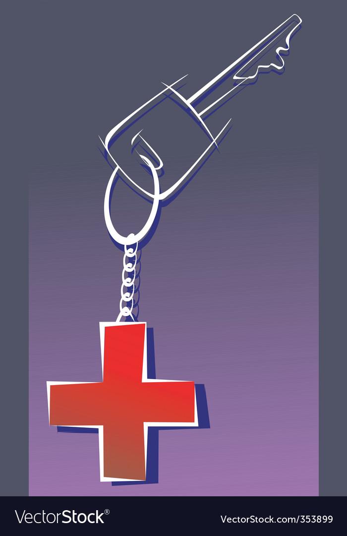 Red cross key vector | Price: 1 Credit (USD $1)