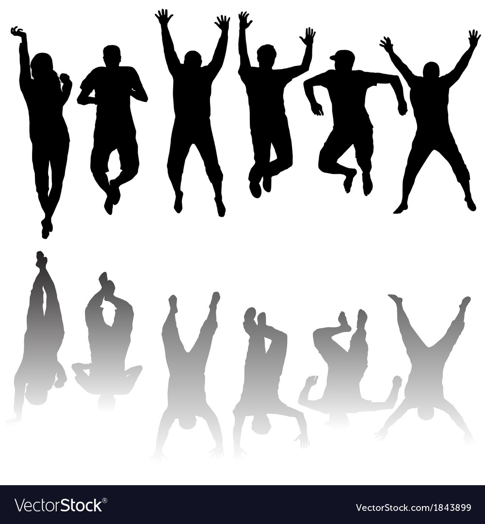 Set of young people silhouettes jumping vector | Price: 1 Credit (USD $1)