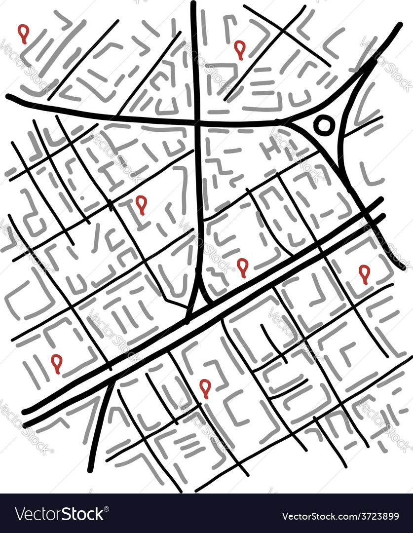 Sketch of city map for your design vector | Price: 1 Credit (USD $1)
