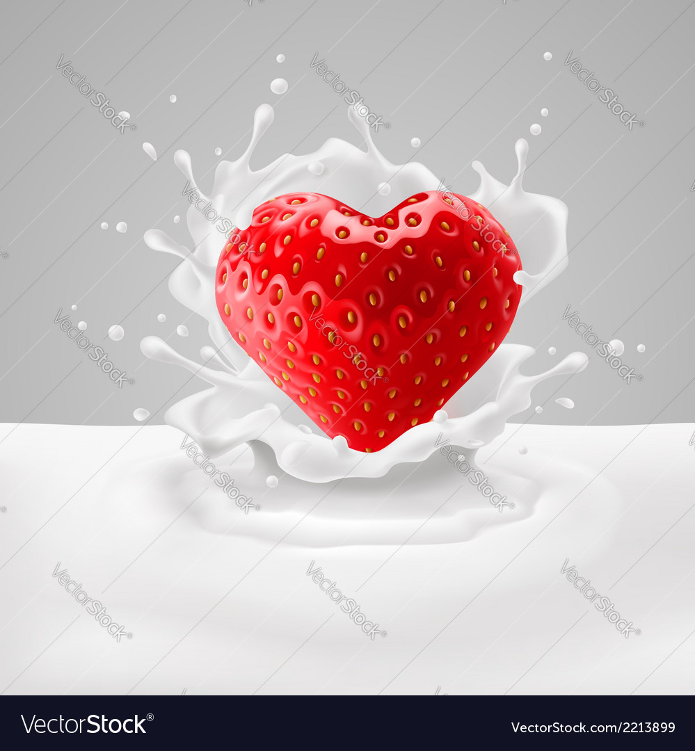 Strawberry heart with milk vector | Price: 1 Credit (USD $1)