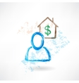 Man and house grunge icon vector