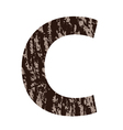 Letter c made from oak bark vector