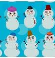 Seamless pattern cute cartoon snowmen on blue vector