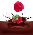 Yellow raspberries with chocolate vector