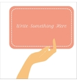 Female hand holding vertical paper card vector