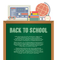 Laptop books and desk globe back to school concept vector