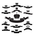 King and queen crown silhouette icon set isolated vector