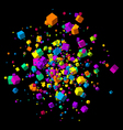 Fly colorful 3d cubes background vector