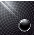 Black glass ball and rays of light vector