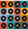 Retro vintage vinyl record disc set on colorful vector