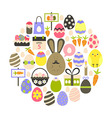 Easter holiday flat icons set over white vector