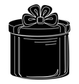 Gift box round silhouette vector