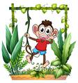 A monkey waving vector