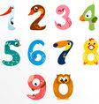Numbers like birds vector